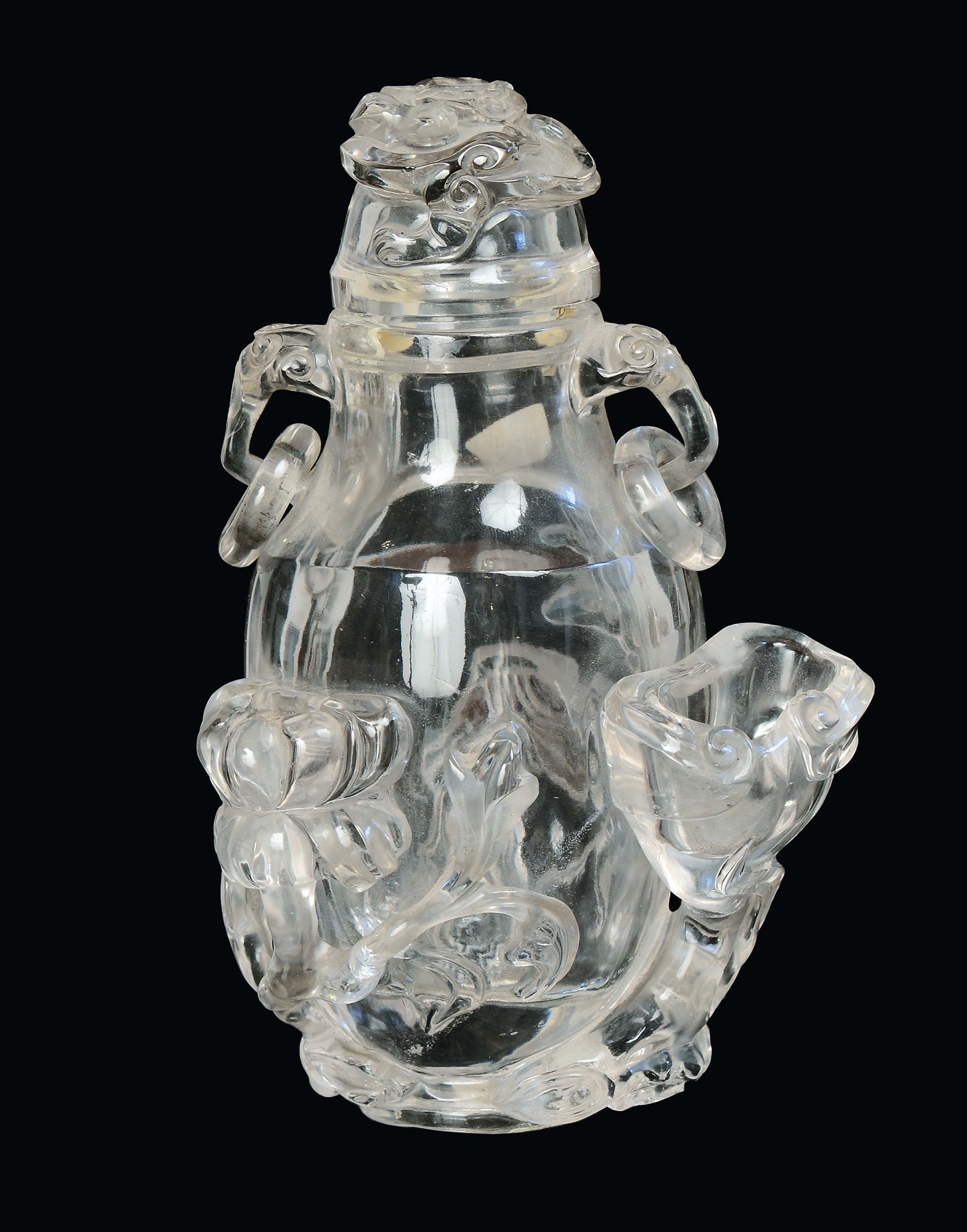 A rock crystal vase sculpted with naturalistic subject china a rock crystal vase sculpted with naturalistic subject china qing dynasty 19th century reviewsmspy