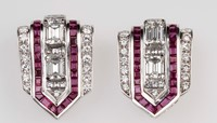 Pair of diamond and ruby clips