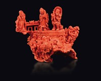 A carved coral group with common life scenes and dragons,  ...