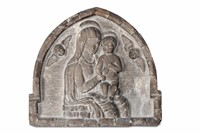 Two reliefs in istrian stone, depicting the Madonna  ...