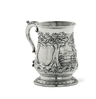A tankard in Sterling silver, embossed and chiselled,  ...