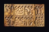 A triptych in carved ivory, transalpine Gothic atelier  ...