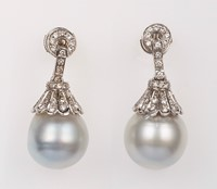 Pair of cultured pearl and diamond pendent earring ...