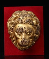 Lion's head in carved and gilded wood, Central Italy,  ...