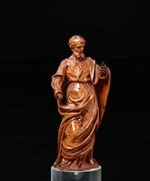 St. Peter, in carved boxwood.  Baroque sculptor active  ...