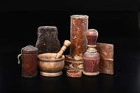 Group of objects and cases in polished wood, painted  ...
