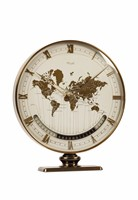 KIENZLE, World Time gilt brass Desk Clock with aperture  ...
