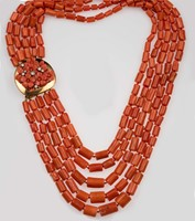Five row coral necklace, gold and diamond clasp
