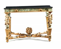 A pair of console tables, gilt and lacquered in false  ...