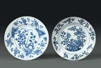 Two porcelain plates with a white and blue decoration,  ...