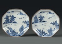 A pair of octagonal porcelain plates, China, Qing  ...