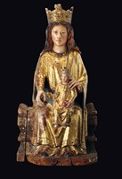 A sculpture in polychrome, gilt wood, depicting the  ...