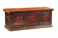 An important bridal chest in cedar wood (?), carved  ...