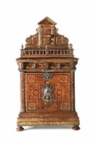 A table coin cabinet in an architectural style, coated  ...