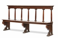 A Renaissance-age bench on an architectural model,  ...