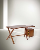 Franco Albini, a desk with wooden structure and glass  ...