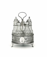A cruet in sterling silver, molten, embossed, perforated  ...