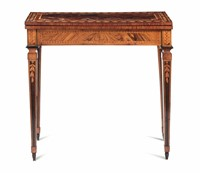 A game table in carved and veneered wood, end of the  ...