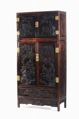 a large and important zitan and huanghuali compound cabinet with finely carved panels china. Black Bedroom Furniture Sets. Home Design Ideas