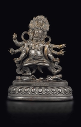 A large and important bronze figure of Mahakala  ...