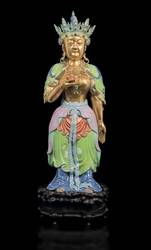 A large polychrome enamelled porcelain figure  ...