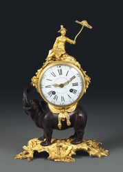 A gilt bronze clock with an elephant, France,  ...