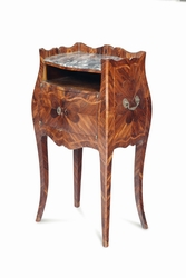 A nightstand, veneered and inlaid with a  ...