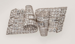 Diamond and platinum double-clip brooch.  ...