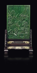 An imperial inscribed spinach-green jade  ...