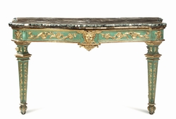A pair of tables in sculpted, carved, gilded  ...